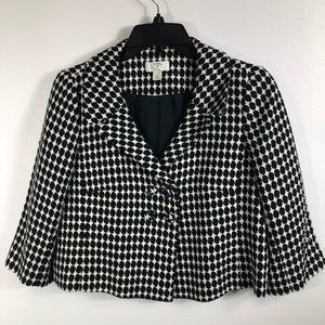 ANN TAYLOR-LOFT- Size 8P- Black/White Plaid Blazer